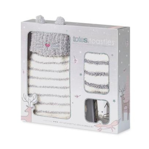 Totes Mini Cat Hot Water Bottle, Socks & Candle Set