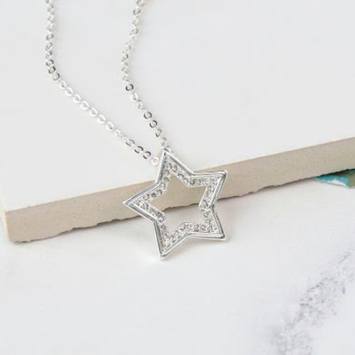 Silver Plated Open Star Necklace
