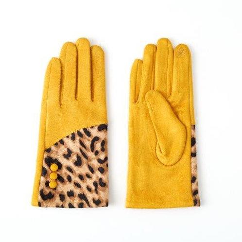 Glove With Button Detail Leopard Print | Mustard