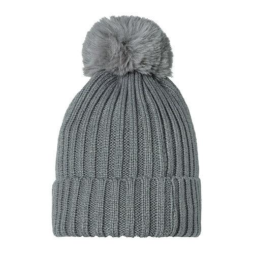 Beanie Hat Pom Pom   Grey