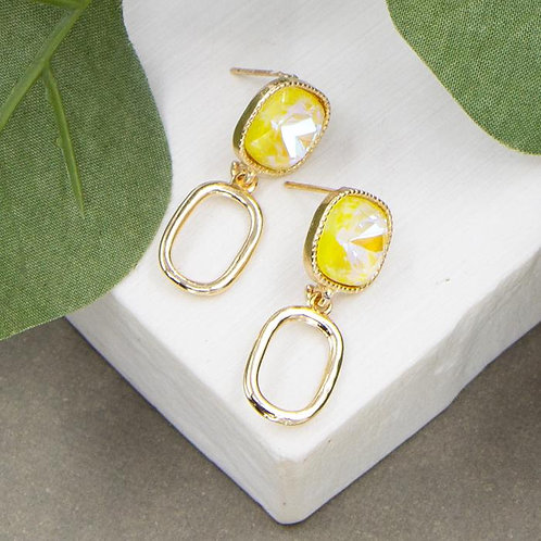 Champagne Resin Stud With Open Oval Drop Earrings