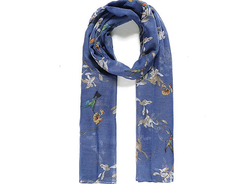 Blue Humming Bird Print Scarf