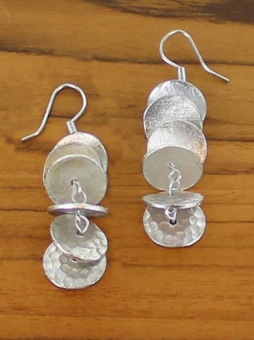 Matte Silver Stacked Circle Earrings