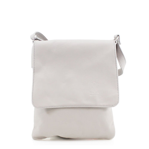 Leather Soft Flap Over Bag | Light Grey
