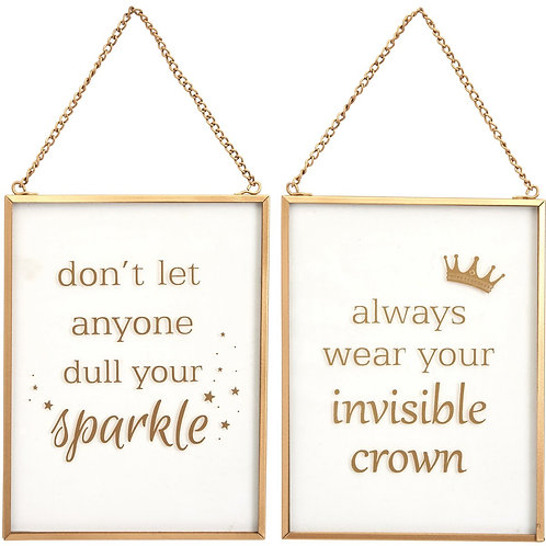 Glass Invisible Crown Or Sparkle Hanging Sign
