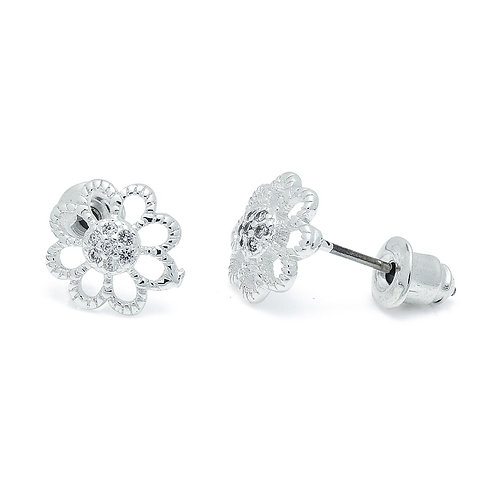 Cubic Zirconia Open Flower Earrings