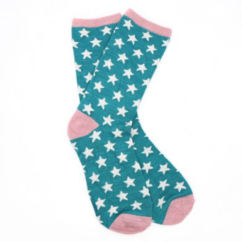 Bamboo Socks | Teal & White Star