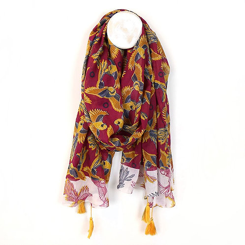 Red Cotton Scarf With Birds Of Paradise & Tassels