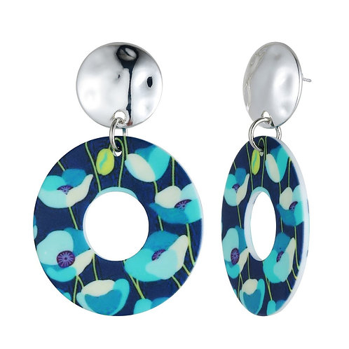 Open Circle Acrylic Drop Earrings - Blue
