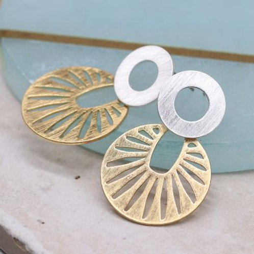 Golden Sun Disc & Silver Circle Earring