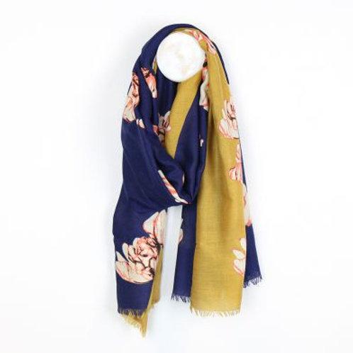 Diagonal Navy & Mustard Floral Scarf