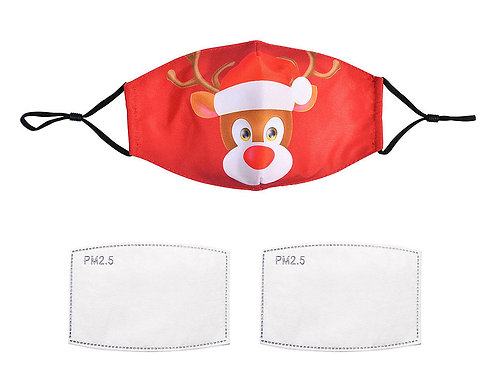 Red Rudolph Face Mask With Filters