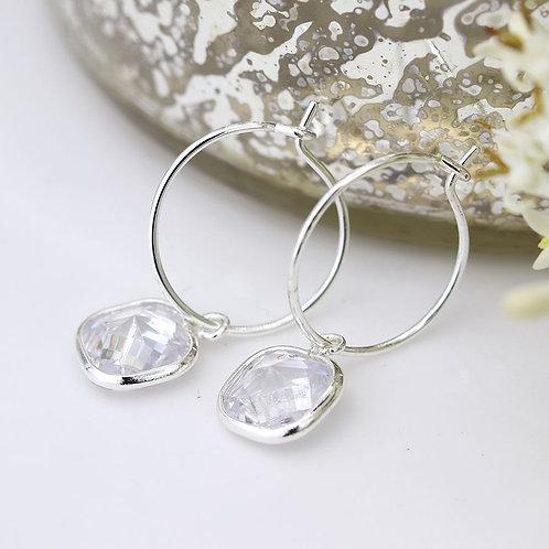 Hoop & Crystal Drop Earrings