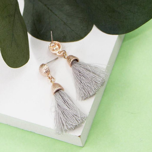 Grey Mini Tassel Earrings