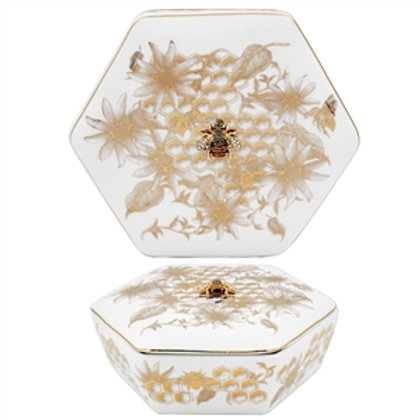 Honeycomb Bee Trinket Box