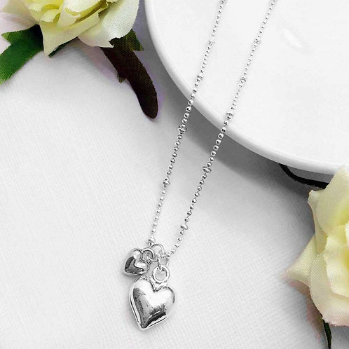 Silver Puffed Heart Necklace