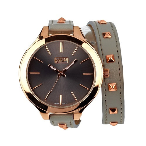 Studded Strap Wrap Watch Grey