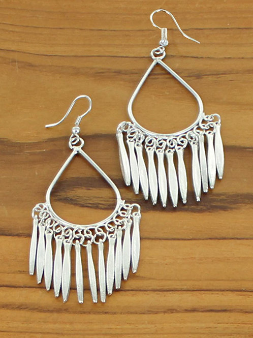 Silver Spiked Fan Earrings