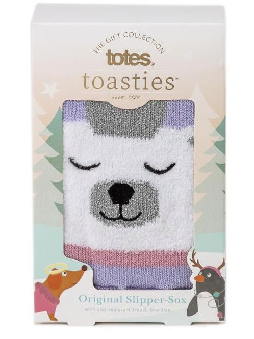 Totes Toasties Ladies Single Slipper Sox - Polar Bear