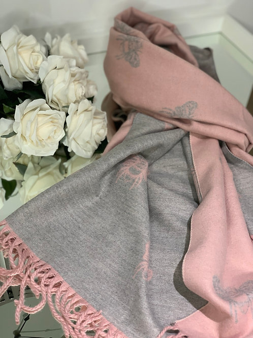 Pink & Grey Cashmere Bee Reversible Scarf