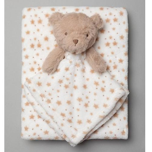 Baby Unisex Bear Comforter & Blanket Set
