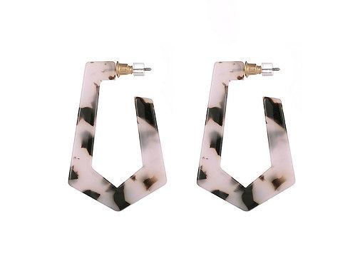 Rose Pink Tortoiseshell Geo Hoop Earrings