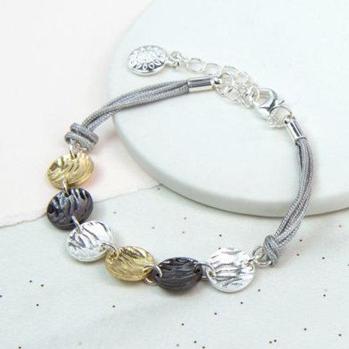 Textured Mixed Disc Bracelet