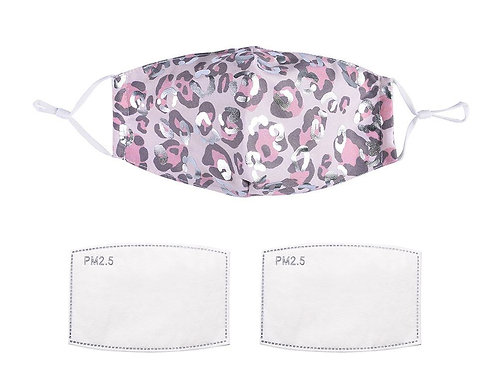 Silver & Pink Leopard Print Face Mask With Filters