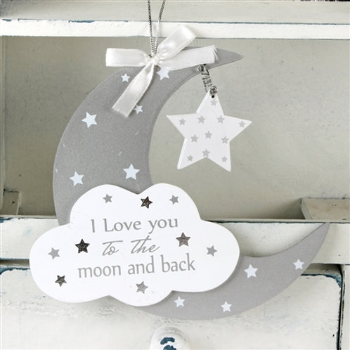 Twinkle Twinkle Moon & Star Hanging Plaque