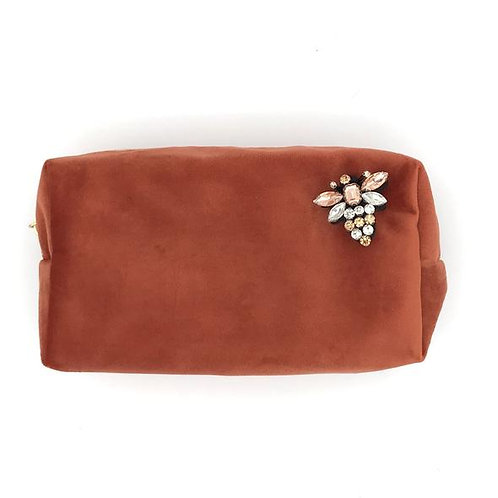 Velvet Make Up Bag With Queen Bee Pin - Coral