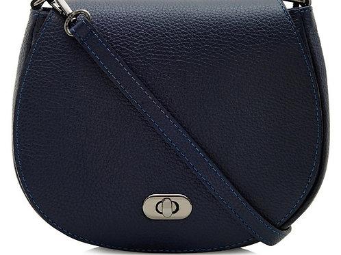 Genuine Leather Saddle Crossbody Bag - Navy