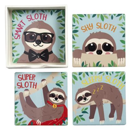 Set Of 4 Playful Sloth Coasters