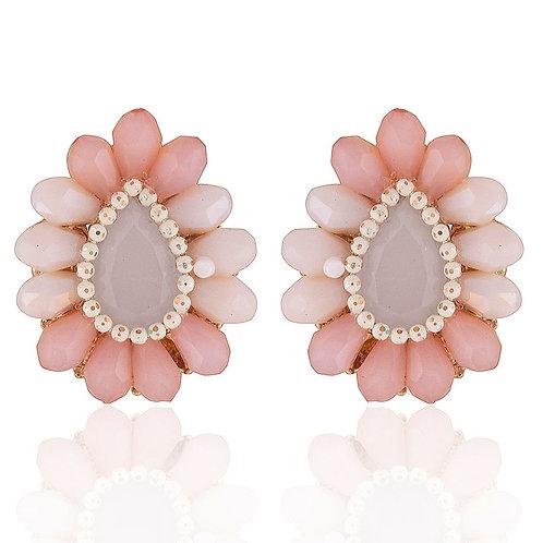 Teardrop Stud Earrings in Mixed Shades of Pink