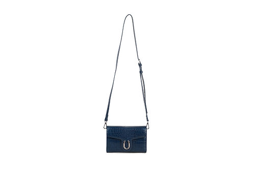 Croc Print Crossbody Bag Navy