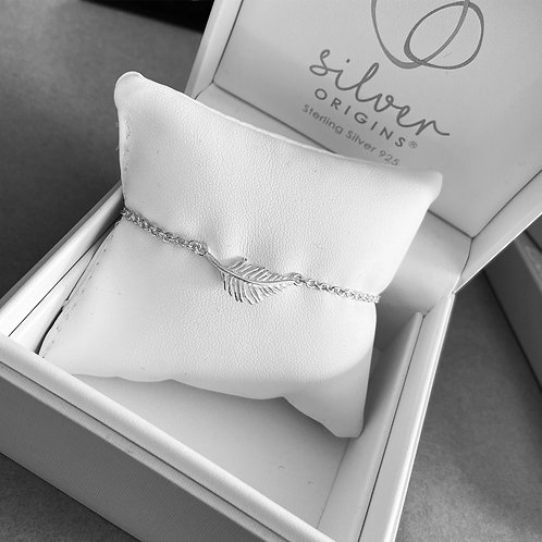 925 Sterling Silver Feather Bracelet