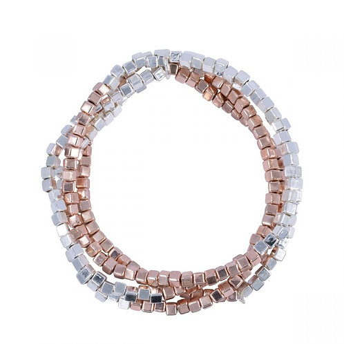 Zaha Rhodium Silver and Rose Gold Multi-row Elasticated Beaded Bracelet