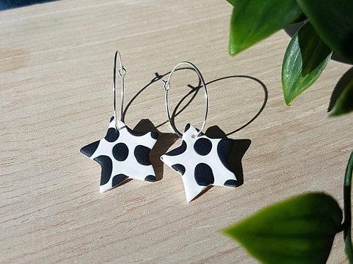 Handmade Black & White Star Hoops