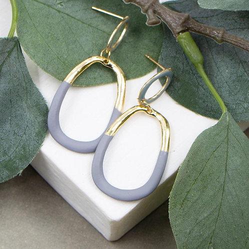 Open Organic Shaped Drop Earrings With Matte Enamel Sections