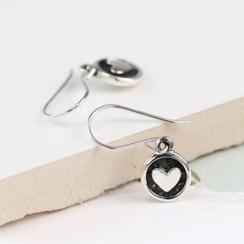 Sterling Silver Oxidised Heart Earrings