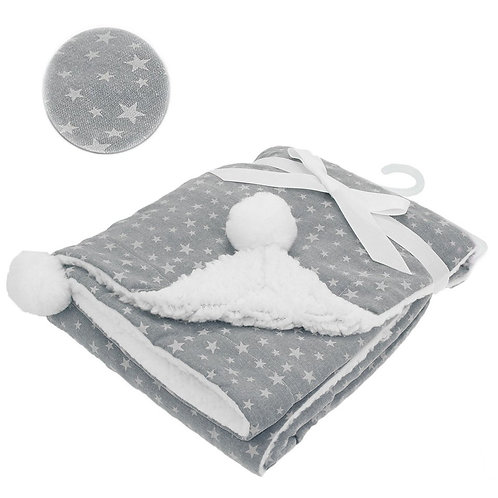 Grey Wrap & Pom Pom Blanket
