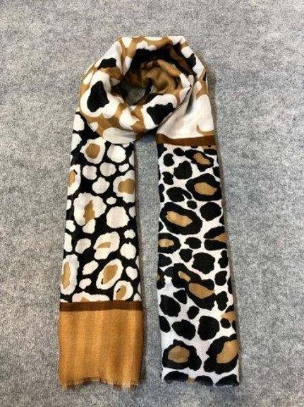 Leopard Dots Print Scarf, Camel