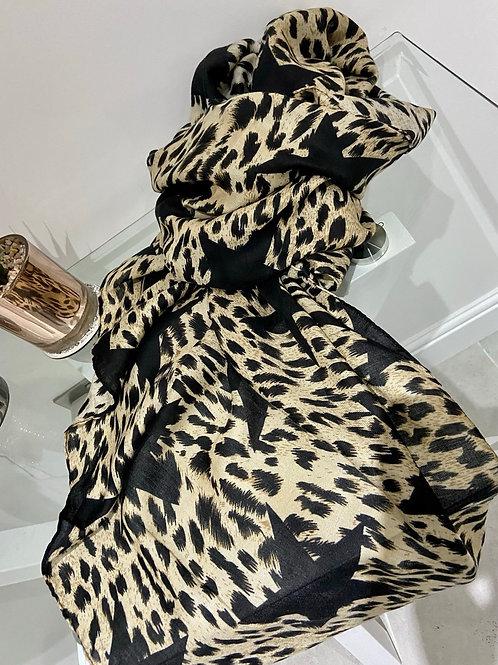 Leopard Star Print Scarf   Cream