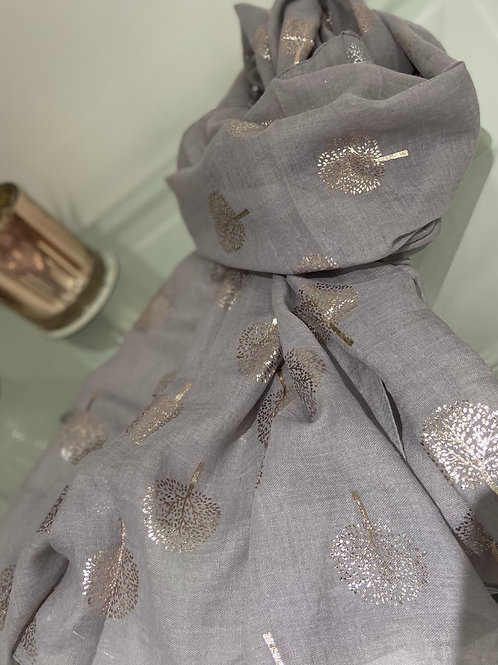 Silver Foil Tree Print Scarf