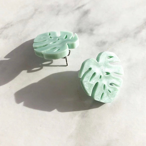 Mint Green Monsteras Stud Earrings