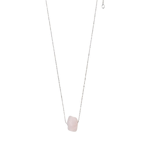 Pilgrim; Necklace Heart Chakra : Silver Plated : Rose Quartz