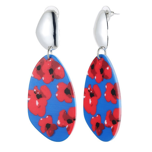 Poppy Acrylic Drop Earrings - Red/Blue