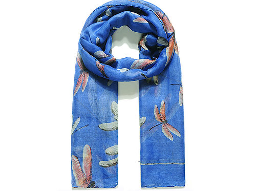 Blue Large Dragonfly Print Scarf