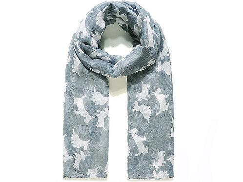 Grey With White Scottie Dog Print Scarf