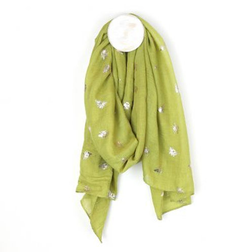 Lime Green & Silver Bee Print Scarf