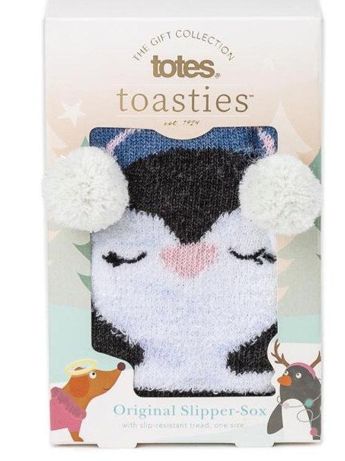 Totes Toasties Ladies Single Slipper Sox - Penguin